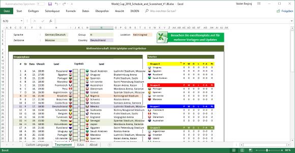 Spielplan der Fußball-WM 2018 in Russland als Excel ...