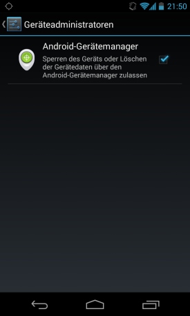Android Device Manager im Nexus 4