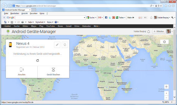 Android Device Manager im Web