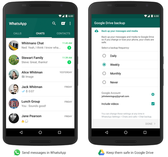 Back up your WhatsApp messages and media to Google Drive