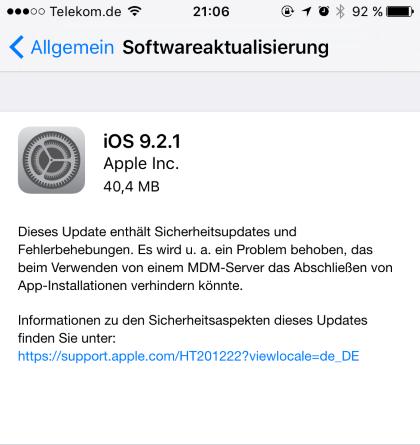 iOS 9.2.1 für iPhone, iPad und iPod touch
