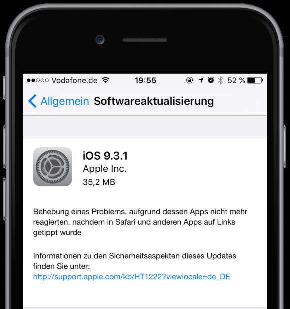 iOS 9.3.1 für iPhone, iPad und iPod touch