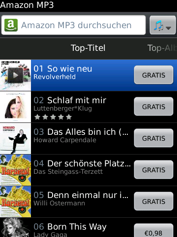 Amazon MP3 für BlackBerry Smartphones