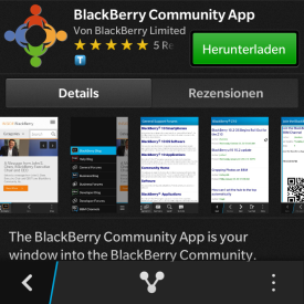 BlackBerry Community App für BlackBerry 10