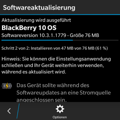 Blackberry Q10 Software Update 10.3 herunterladen