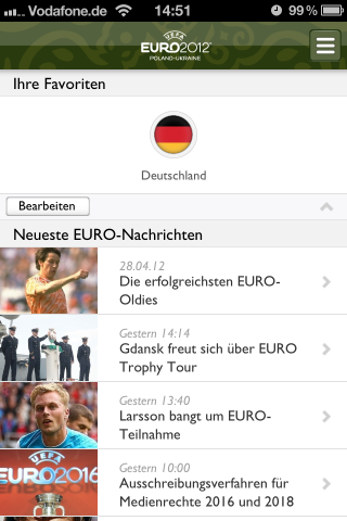 Offizielle UEFA EURO 2012 App für iPhone, Android, BlackBerry und Windows Phone