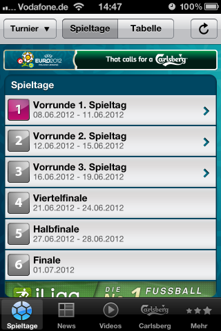 UEFA EURO 2012 by Carlsberg mobile App für iPhone und Android