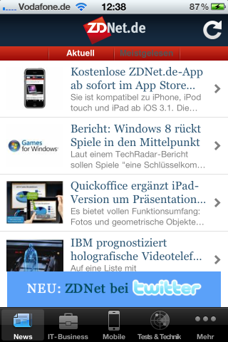 ZDNet.de App für iPhone