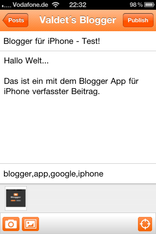 Blogger App für iPhone