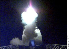 The first Tomahawk missile launched against Yugoslavia is fired from Adriatic Sea Wednesday