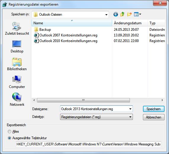 Outlook 2013 E-Mail-Konten xportieren bzw. Importieren