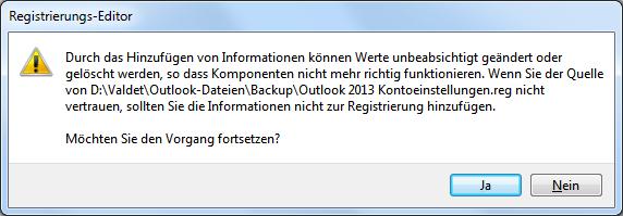Outlook 2013 E-Mail-Konten Exportieren bzw. Importieren
