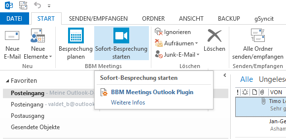 BBM Meetings-Plug-in für Microsoft Outlook