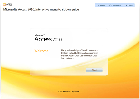 Microsoft Access 2010 - Interactive Menu to ribbon guide
