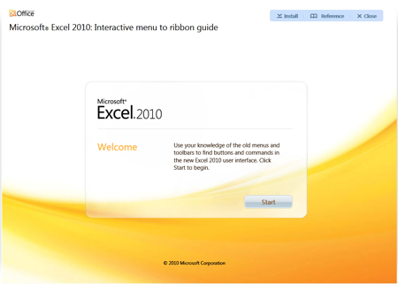 Microsoft Excel 2010 - Interactive Menu to ribbon guide