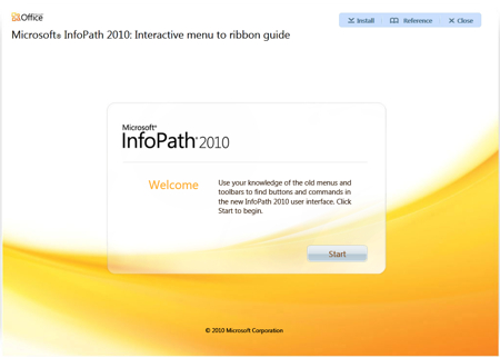 Microsoft InfoPath 2010 - Interactive Menu to ribbon guide