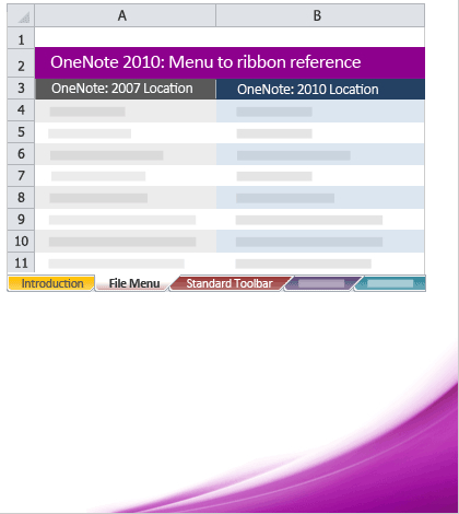 Office 2010 menu to ribbon reference workbooks