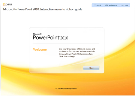 Microsoft PowerPoint 2010 - Interactive Menu to ribbon guide