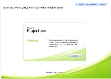 Microsoft Project 2010 - Interactive Menu to ribbon guide