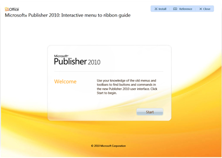 Microsoft Publisher 2010 - Interactive Menu to ribbon guide