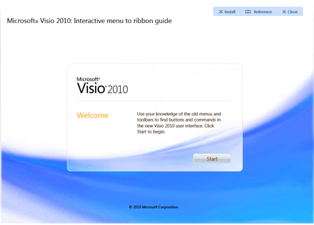 Microsoft Visio 2010 - Interactive Menu to ribbon guide
