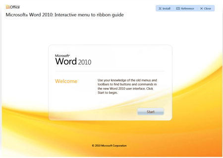 Microsoft Word 2010 - Interactive Menu to ribbon guide