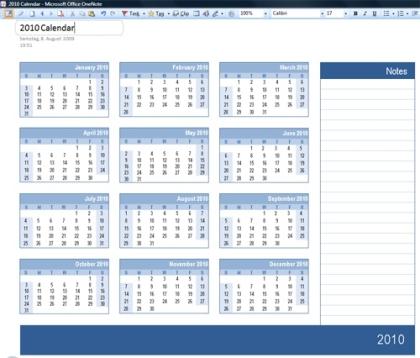 onenote kalender 2010 mit platz f r notizen