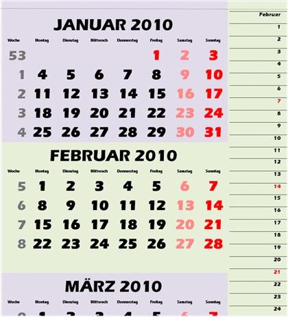 dreimonatskalender mit planer funktion f r word