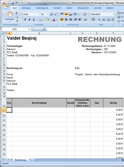 mehrseitige rechnungsvorlage f r microsoft excel. Black Bedroom Furniture Sets. Home Design Ideas