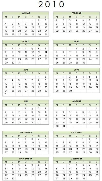 kalender 2010 f r word excel und powerpoint