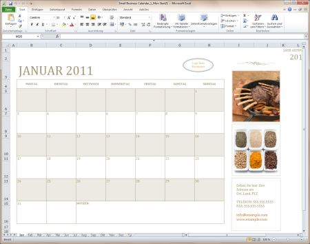 Small business calendar