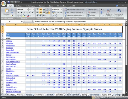 Excel Template - 2008 Summer Olympic Events Schedule