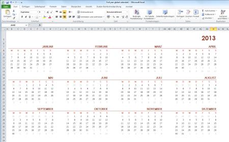 kalender 2013 vorlagen f r microsoft excel