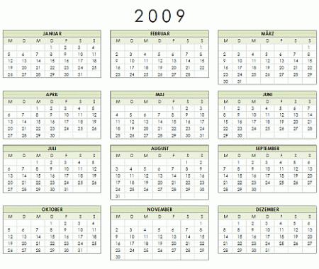 kalender 2009 f252r word excel und powerpoint