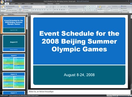 Event schedule for the 2008 Beijing Summer Olympic games