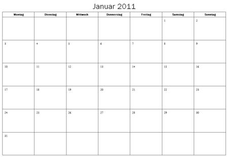 Standard Kalender 2011 für Word 2007 oder höher – it-blogger.net