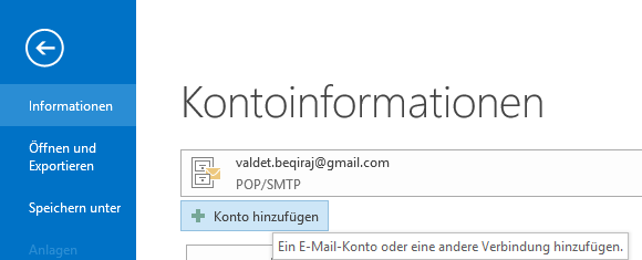 1&1 POP3 E-Mail-Konto in Outlook