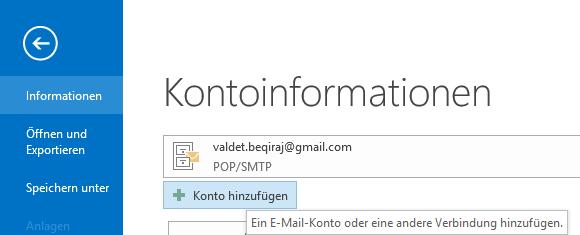 1&1 POP3 E-Mail-Konto in Outlook
