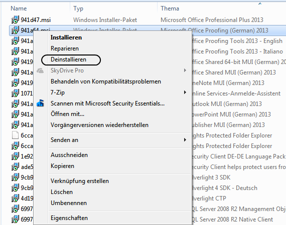 Windows Installer-Pakete von Microsoft Office 2013 Entfernen