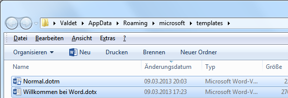 Normal.dotm und Welcome to Word.dotx entfernen
