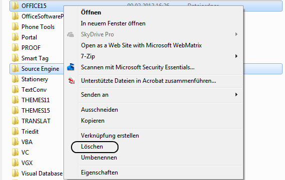 Office 2013 Source Engine löschen