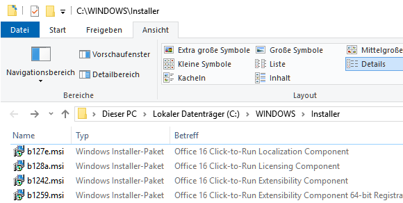 Windows Installer-Pakete von Office 2019 Entfernen