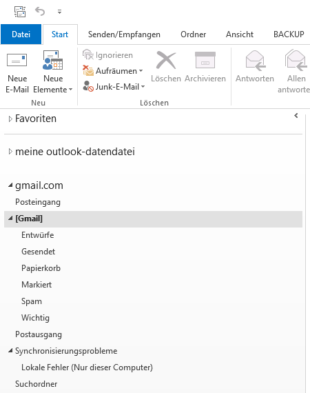 Gmail IMAP E-Mail-Konto in Outlook
