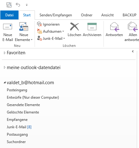 Hotmail E-Mail-Konto in Outlook hinzufügen