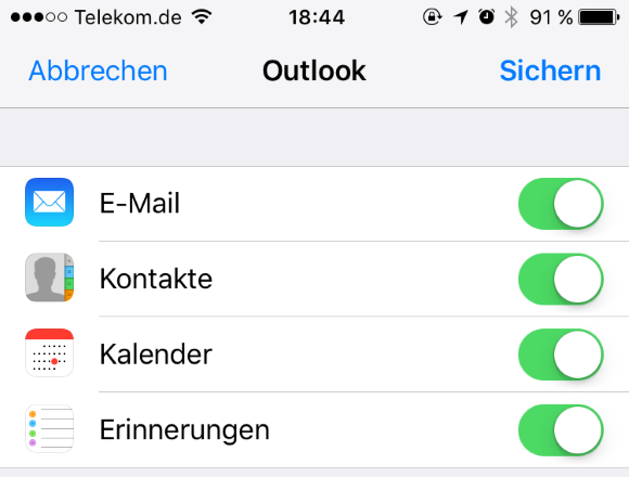 Outlook.com mit dem iPhone synchronisieren
