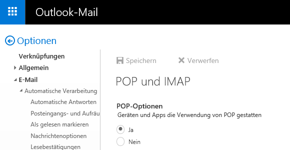 Hotmail IMAP-E-Mail-Konto in Outlook