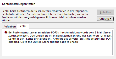 Outlook.com POP3-E-Mail-Konto in Outlook hinzufügen