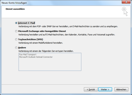 Hotmail POP3-E-Mail-Konto in Outlook 2010 einrichten