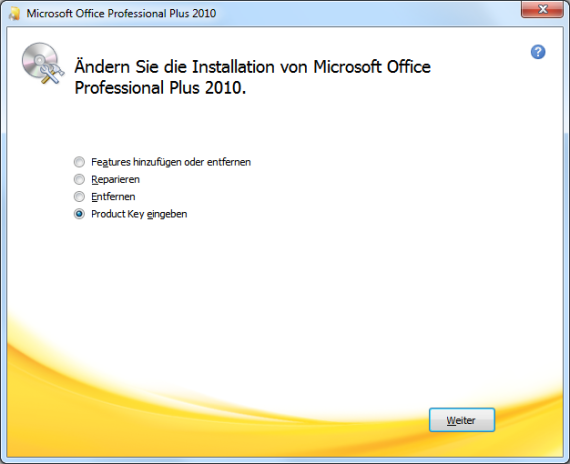 office 2010 enter product key