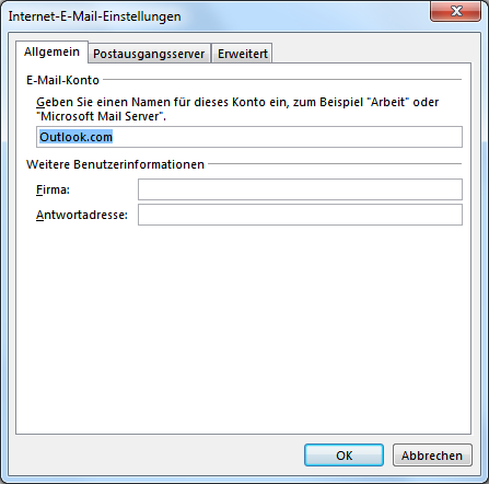Outlook.com POP3 E-Mail-Konto in Outlook hinzufügen